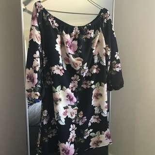 Boohoo Floral Shoulder Dress