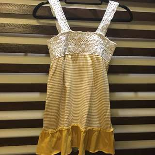 Mustard Summer Dress With Cute Crochet Detail
