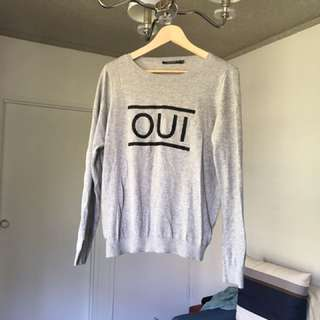 "PORTMANS Grey ""OUI"" Jumper SZ M"