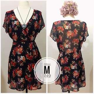 Overlap Floral Dress