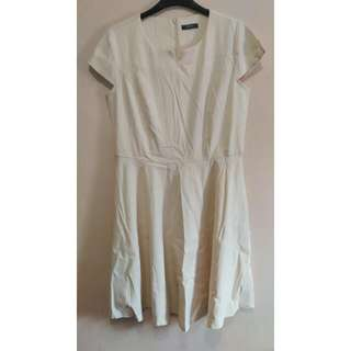 XARA White Fit and Flare Dress
