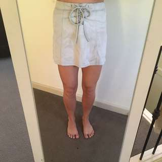 Lace Up Grey Suede Skirt