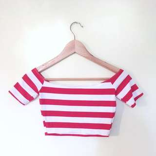 American Apparel Off The Shoulder Red & White Crop S