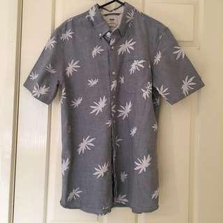 Men's Vans Button Up Weed Pot Leaf Button Up Short Sleeve Shirt Size Small Van Doren