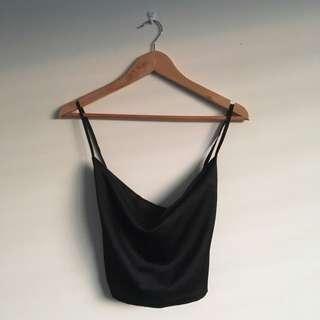 Black Silk Cowl Neck Crop