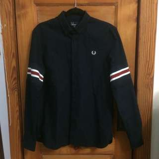 FRED PERRY: Bomber Striped Button Down Shirt (Size Medium)