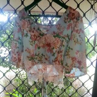 Valleygirl Cute Floral Lace Hippie Tie Up Crop