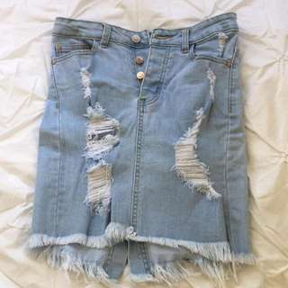 Distressed Bodycon Jeans Skirt