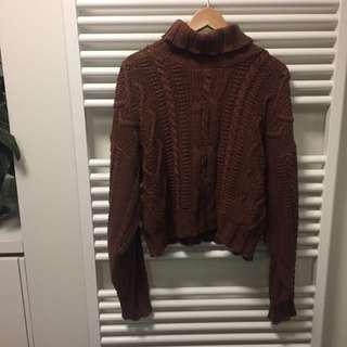 Vintage brown knit turtle neck