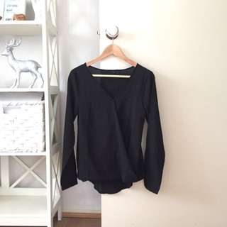 Black Wrap Over V-neck Shirt