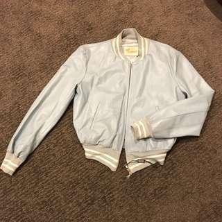 Powdered Blue Leather Jacket