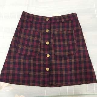 復古格紋窄裙