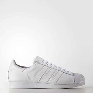 All White Adidas Superstars Size 7
