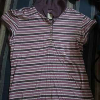 Aeropastale purle white striped shirt