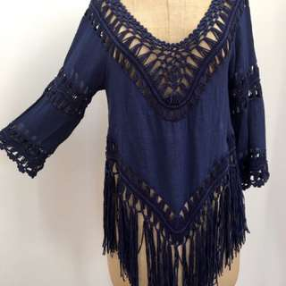 ASOS NAVY BLUE FESTIVAL TOP CROCHET CUTOUT TASSELS FRINGING