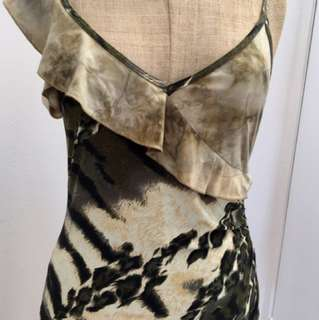 CHARLIE BROWN SPAGHETTI STRAP CAMI TOP FRILL SLEEVE ANIMAL PRINT KHAKI GREEN