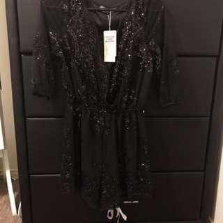 Black Sparkly Playsuit