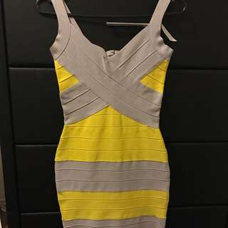 Grey & Yellow Bandage Dress