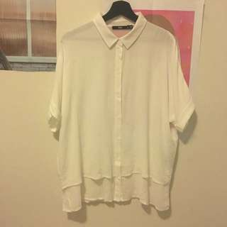 Sportsgirl Off White Short Sleeve Shirt with Rolled Cuffs Size 12 M