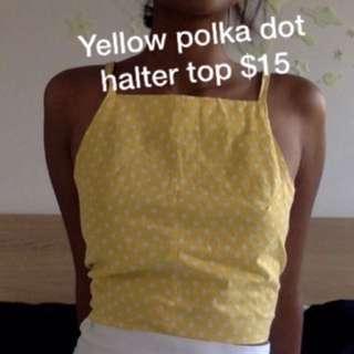 Vintage Yellow Polka Dot Halter Top