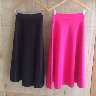 Pink and Black Maxi Skirts