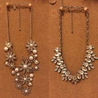 Blush Statement Floral Necklace & Diamond Statement Necklace
