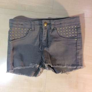 H&m Army Green Frayed Studded Short