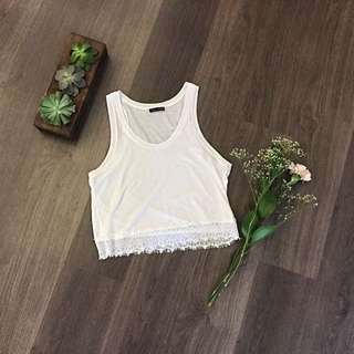 Zara Crop Top With Lace Detail