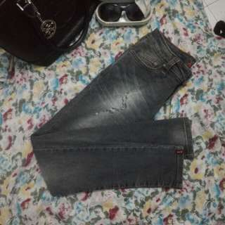 Wash Out Details Dark Grey Ako Ripped Jeans