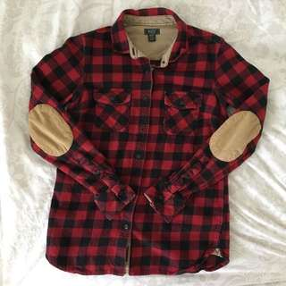 Roots Red Plaid Flannel Button-up