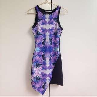 Purple Floral Symmetrical Dress