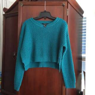 F21 Teal Cropped Knit Sweater