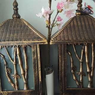 日式花園座地燈一對