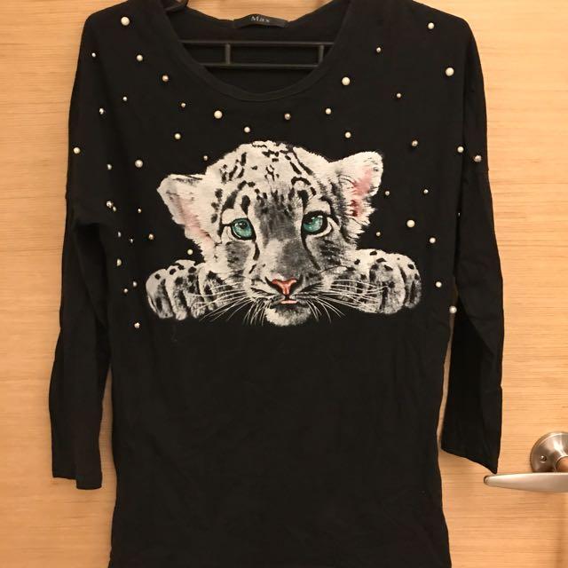 🌻黑色立體造型豹上衣