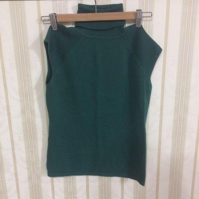 復古女伶|綠色針織無袖高領毛衣💚