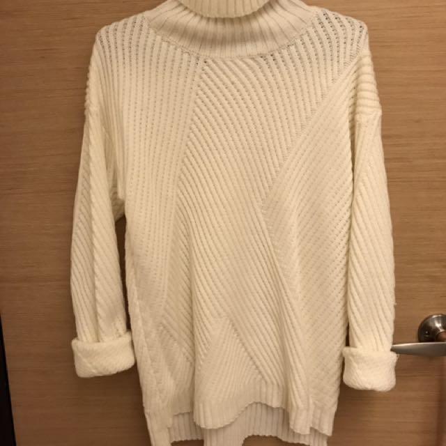 🌻高領長版白色針織上衣