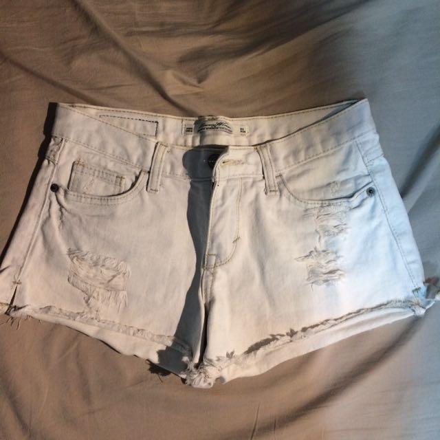 牛仔刷白熱褲