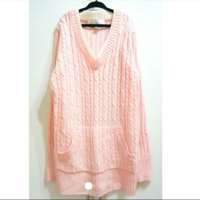 粉色修身長版毛衣