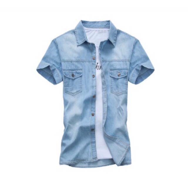 男裝 淺藍刷白短袖牛仔襯衫