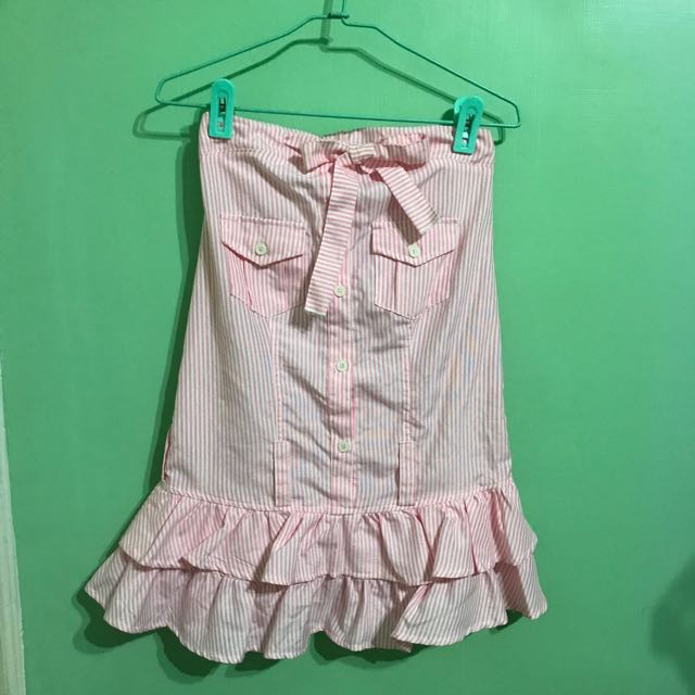 東京著衣 粉直條平口綁帶蛋糕洋 #100元洋裝