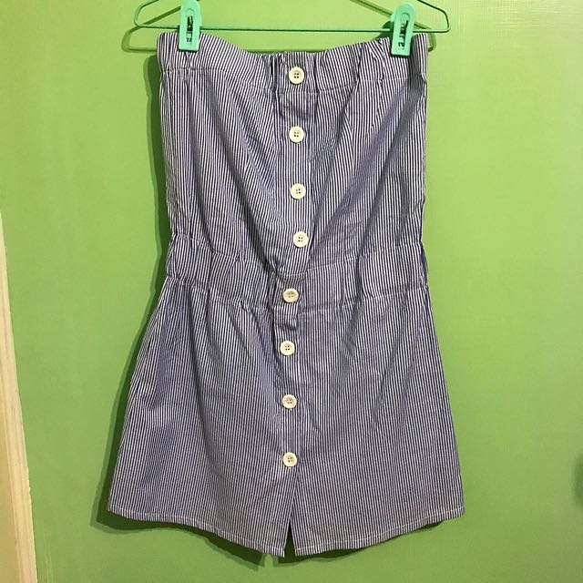東京著衣 海軍風藍直條紋平口洋 #100元洋裝