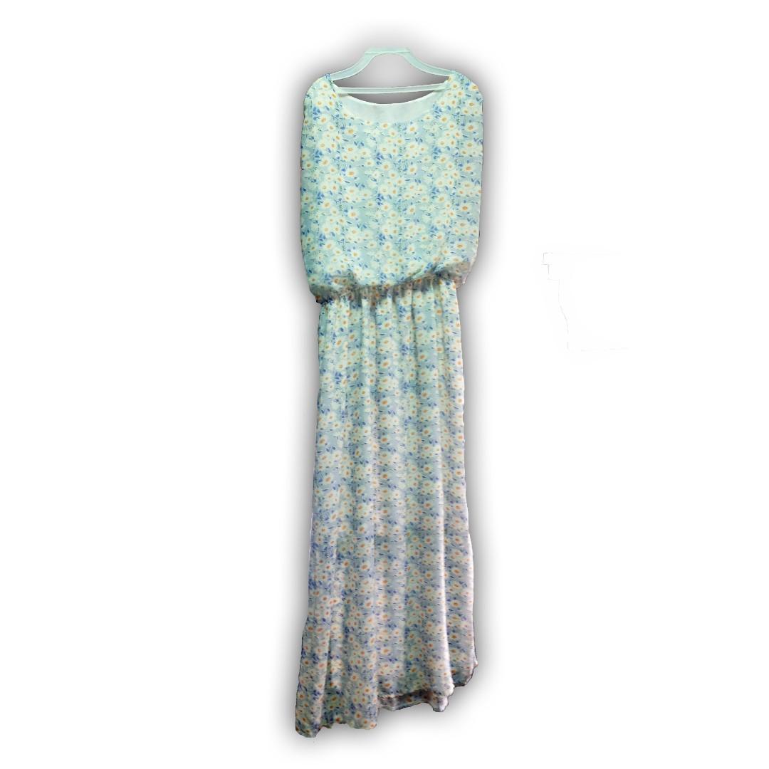 小白花 度假風 夏日無袖  雪紡 長洋裝