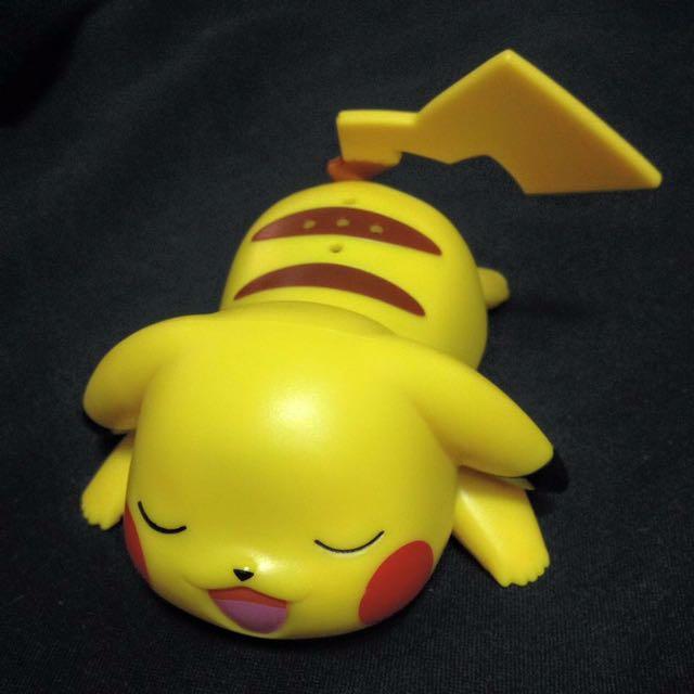 睡覺打呼皮卡丘 有音效 摸摸頭會發出聲音 pikachu
