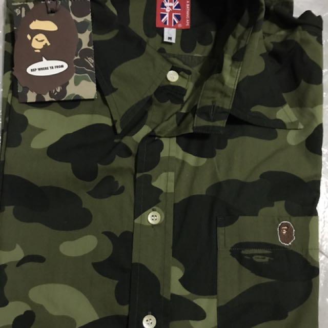 c0e7b3a8e009 A Bathing Ape BAPE Green Camo Short Sleeve Shirt   Authentic ...