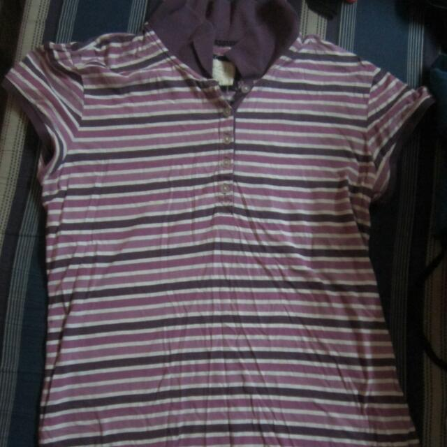 Aeropastale purle white striped shirt