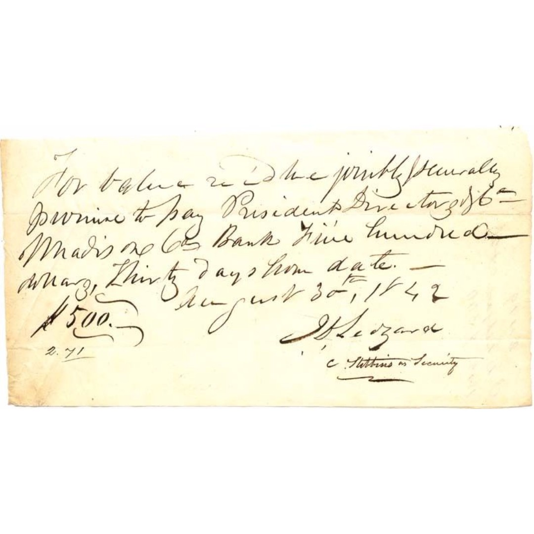Antique Promissory Note - USA - 1842