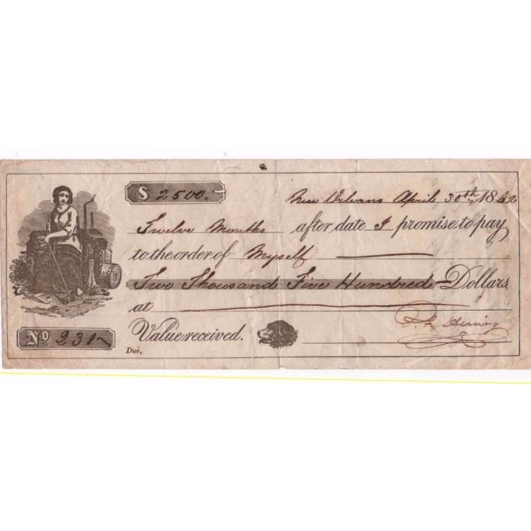 Antique Promissory Note - USA - 1862