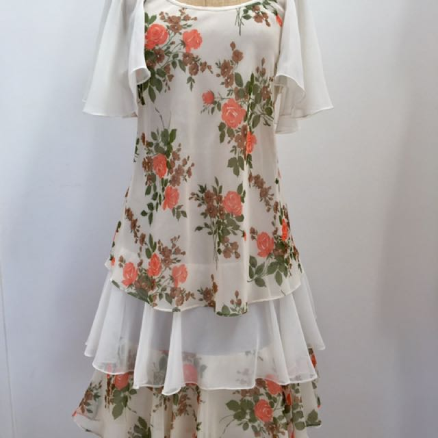 Authentic VINTAGE FLORAL TIERED LAYERED DRESS SHEER FRILL SLEEVE