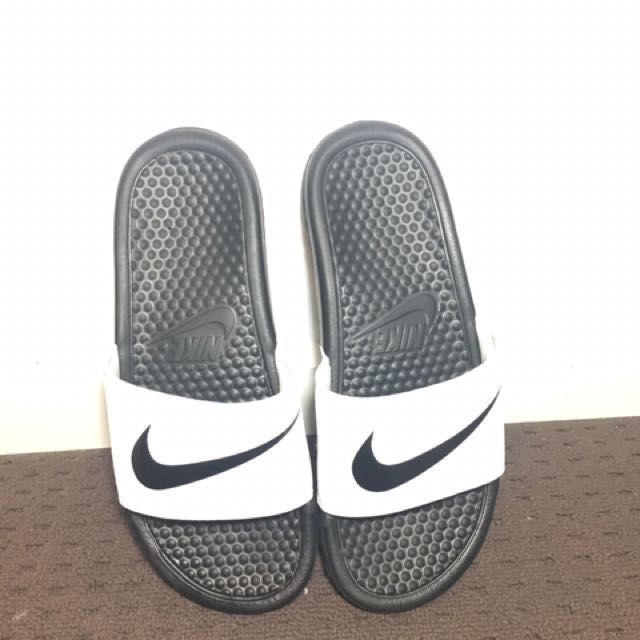 Black + White Nike Slides
