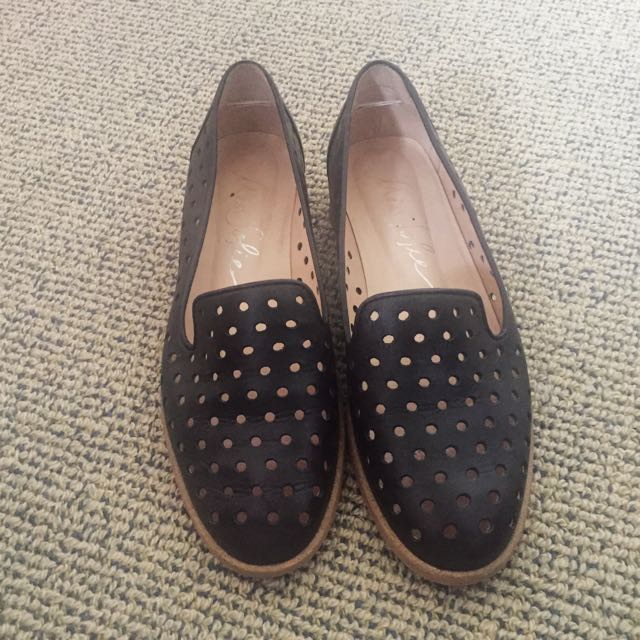 Black Perforated Flat Shoes - Miss Sofie